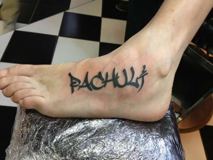 Foot Lettering Tattoo by World's End Tattoo