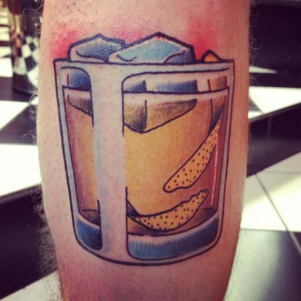 Leg Glass Tattoo by World's End Tattoo
