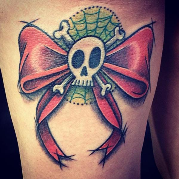 Leg Skull Ribbon Tattoo by World's End Tattoo