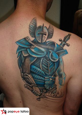 Back Warrior Tattoo by Popeye Tattoo