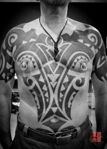 Shoulder Chest Tribal Belly Maori Tattoo by Ink Tank