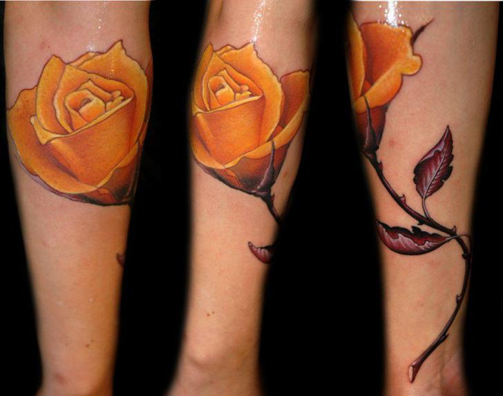 Arm Realistic Flower Tattoo by Black Rose Tattoo