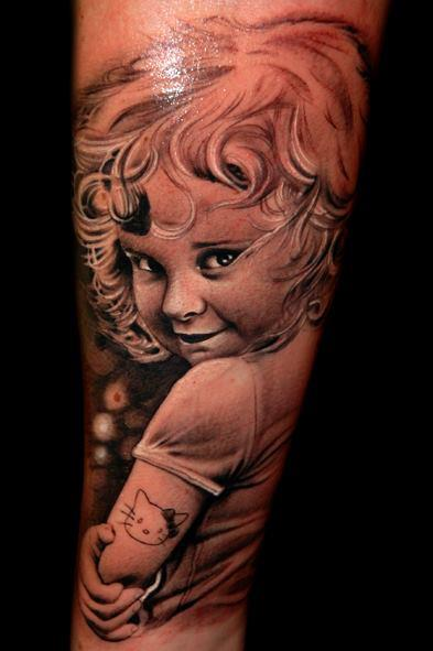 Arm Portrait Realistic Tattoo by Black Rose Tattoo