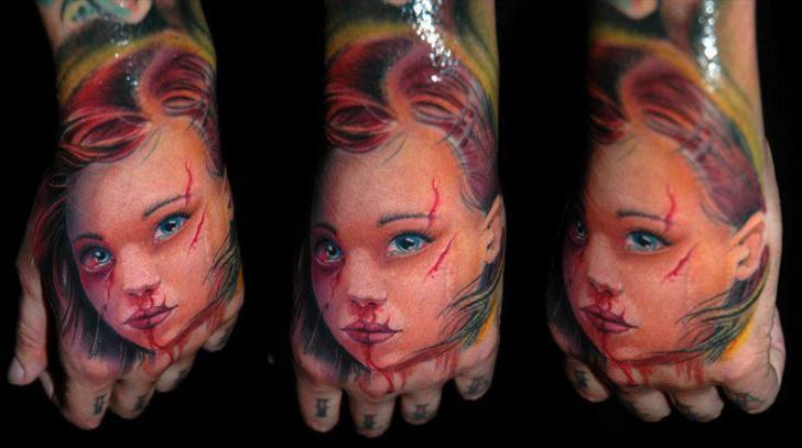 Portrait Realistic Hand Tattoo by Black Rose Tattoo