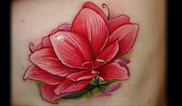 Realistic Flower Tattoo by Black Rose Tattoo