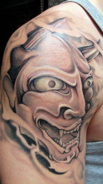 Shoulder Japanese Demon Tattoo by Black Rose Tattoo