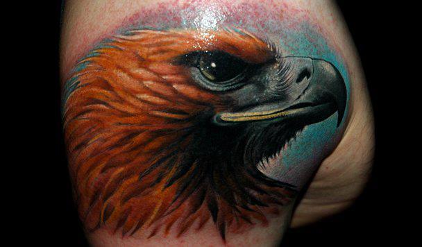 Shoulder Realistic Eagle Tattoo By Black Rose Tattoo