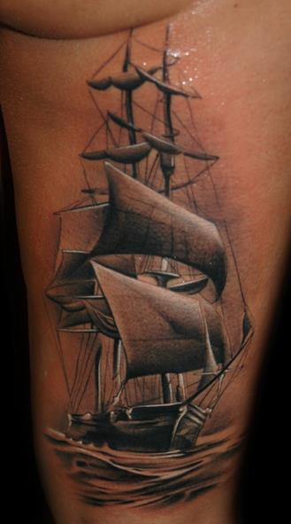 Realistic Side Galleon Tattoo by Black Rose Tattoo