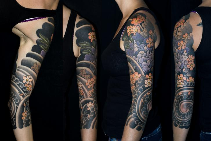 Arm Flower Japanese Tattoo by Shane Tan