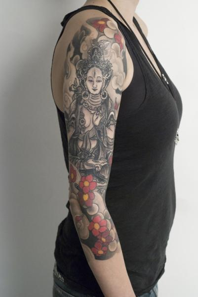 Arm Flower Buddha Religious Tattoo by Shane Tan