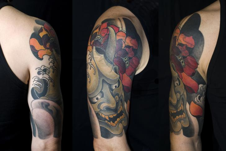 Shoulder Flower Japanese Demon Tattoo by Shane Tan