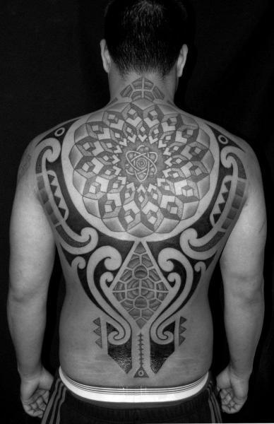 Back Tribal Dotwork Tattoo by Mahakala Tattoo