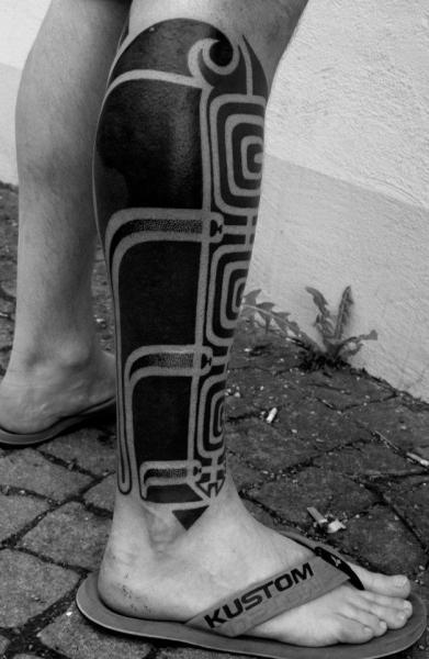 Calf Leg Tribal Maori Tattoo by Mahakala Tattoo