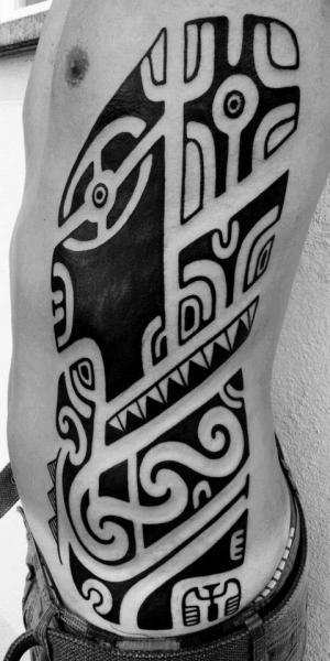 Side Tribal Maori Tattoo by Mahakala Tattoo