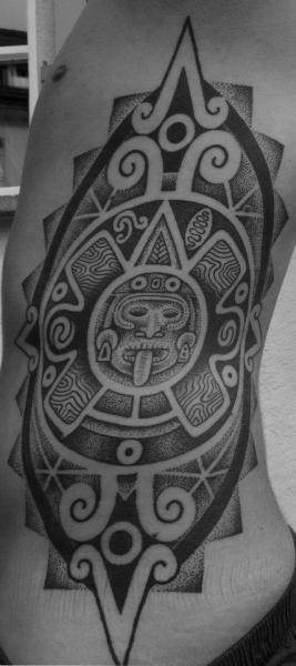 Side Tribal Dotwork Tattoo by Mahakala Tattoo