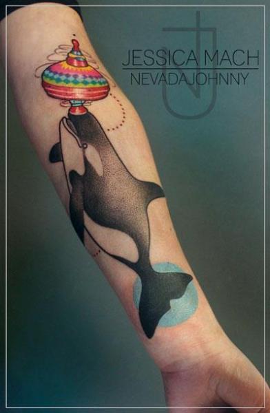 Arm Fantasy Whale Tattoo by Jessica Mach