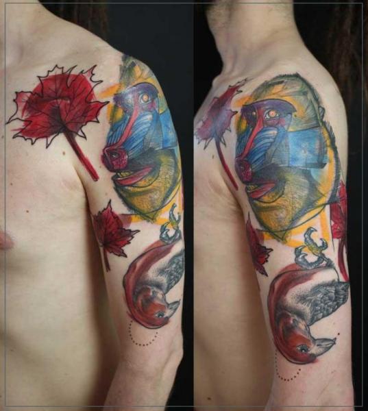 Shoulder Arm Bird Monkey Tattoo by Jessica Mach