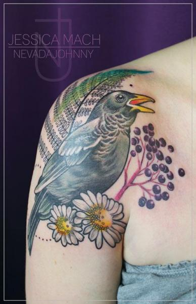 Shoulder Realistic Bird Tattoo by Jessica Mach