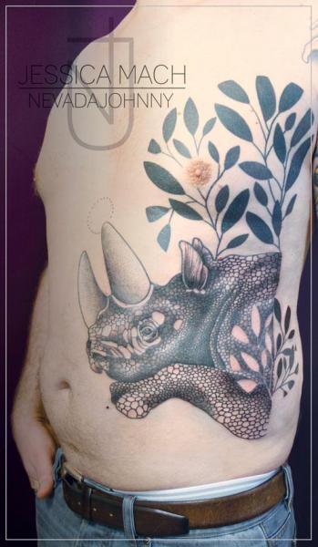 Tatuaggio Fianco Pancia Rinoceronte Foglia di Jessica Mach