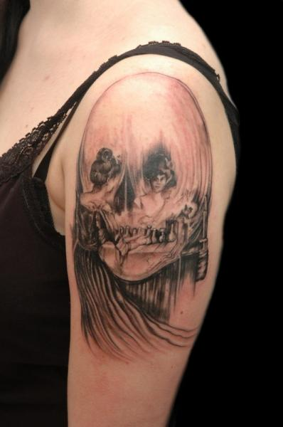 Shoulder Skull Mirror Painting Tattoo by Csaba Kiss