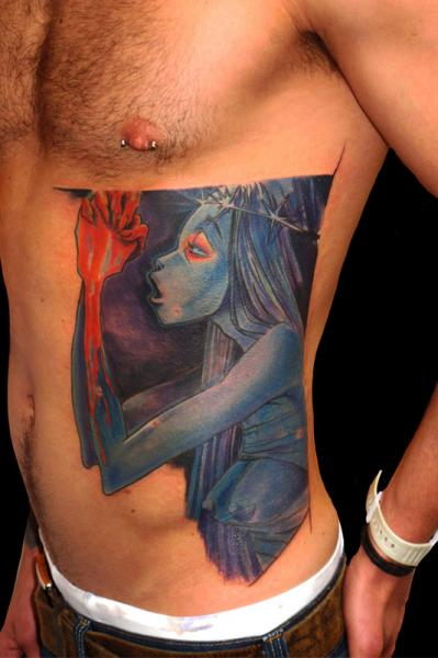 Fantasy Side Character Tattoo by Csaba Kiss