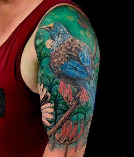 Shoulder Arm Realistic Flower Bird Tattoo by Blue Lotus