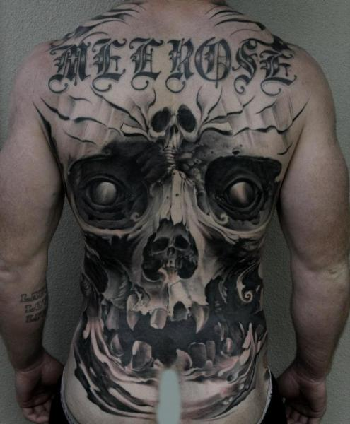 Fantasy Lettering Skull Back Tattoo by Blue Lotus