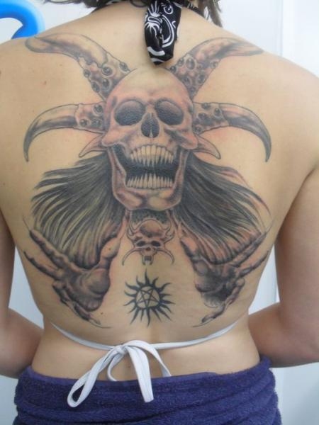 Fantasy Skull Back Tattoo by Blue Lotus
