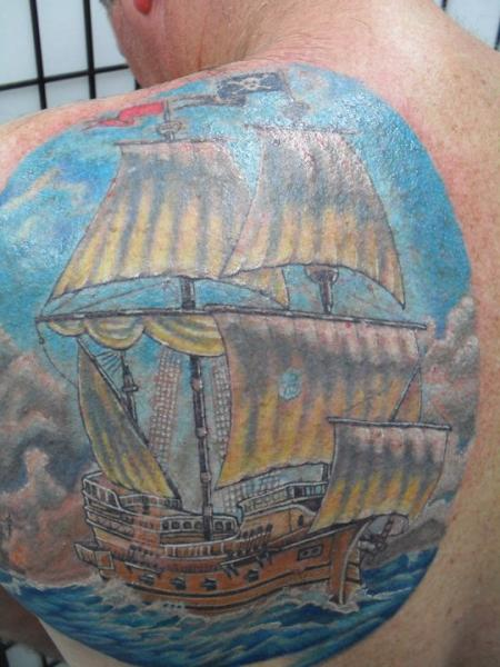 Realistic Back Galleon Tattoo by Blue Lotus