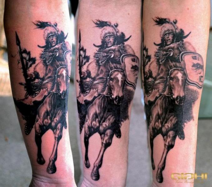 Arm Realistische Krieger Indisch Tattoo von Giahi