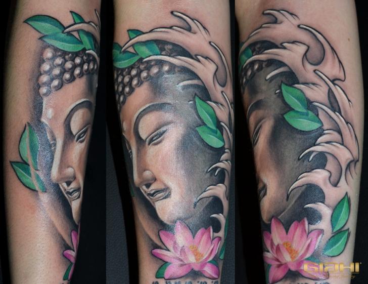 Arm Buddha Religious Tattoo by Giahi
