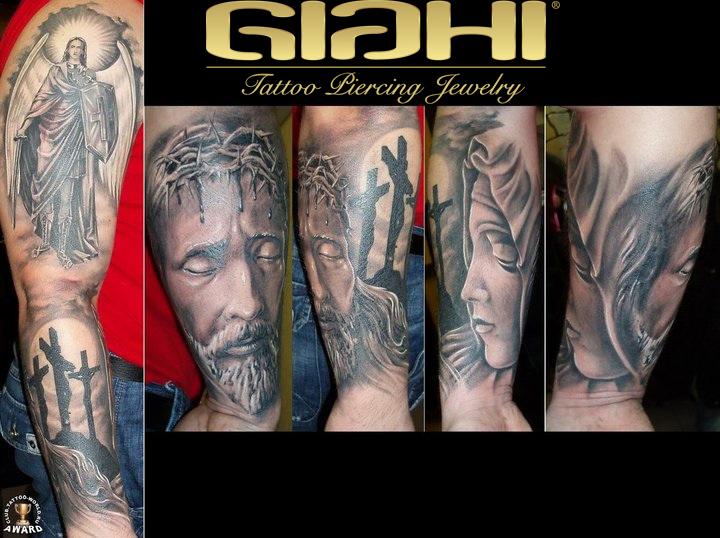 Arm Religious Tattoo by Giahi