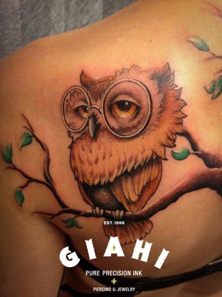 Fantasy Back Owl Tree Tattoo by Giahi