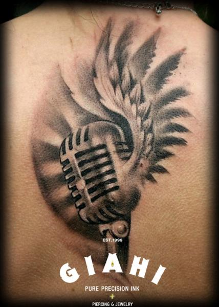 Back Wings Microphone Tattoo by Giahi