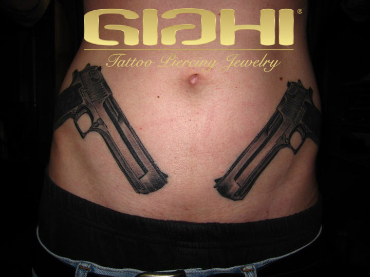 Realistic Gun Belly Tattoo by Giahi