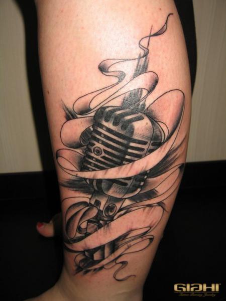 Leg Microphone Tattoo by Giahi