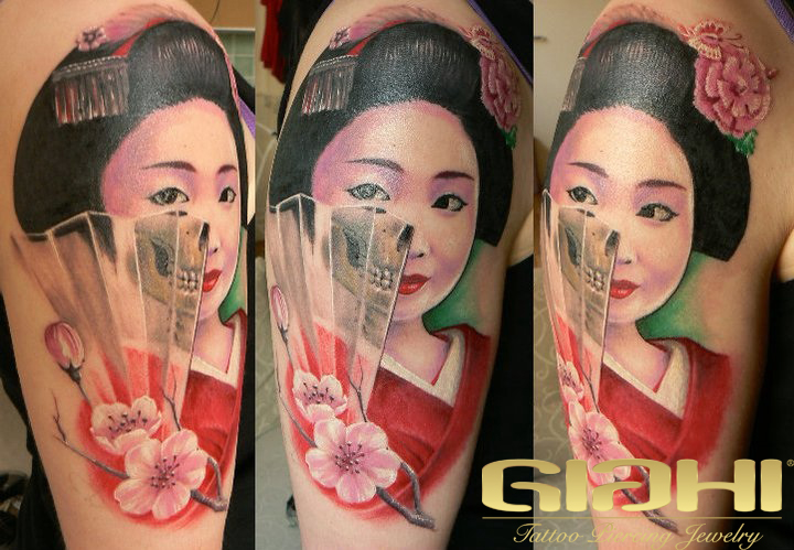 Shoulder Fantasy Geisha Tattoo by Giahi