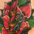 Old School Flower Thigh Lipstick tattoo by Giahi