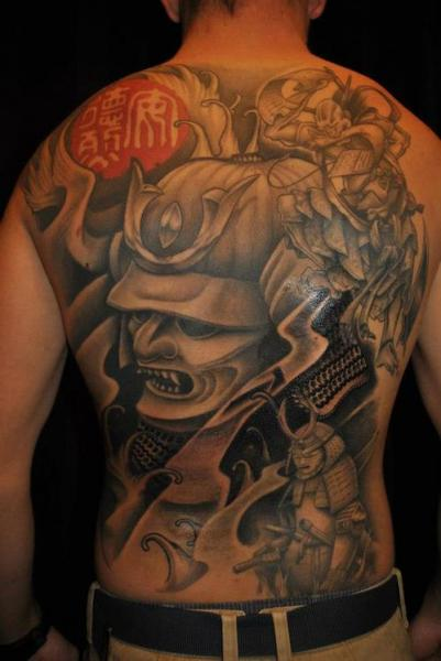 Japanese Back Samurai Tattoo by Q Tattoo