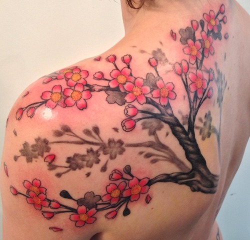 Shoulder Flower Cherry Tattoo by Q Tattoo