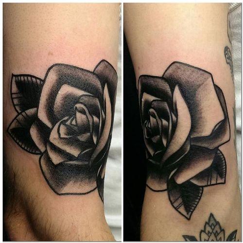 Old School Flower Tattoo by Q Tattoo