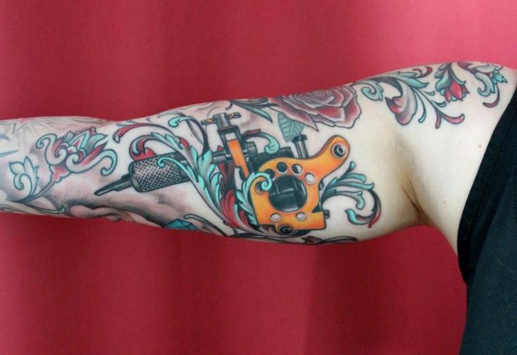 Arm Realistic Tattoo Machine Tattoo by Skin Deep Art