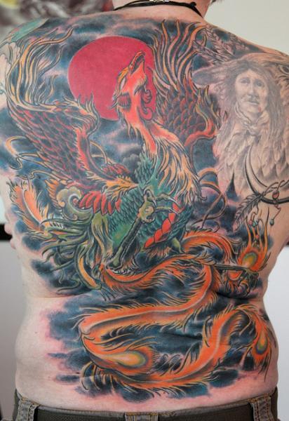 Fantasy Back Phoenix Tattoo by Skin Deep Art