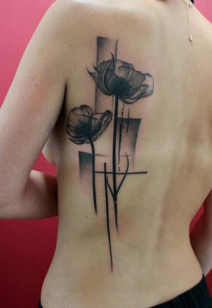 Blumen Rücken Tattoo von Skin Deep Art