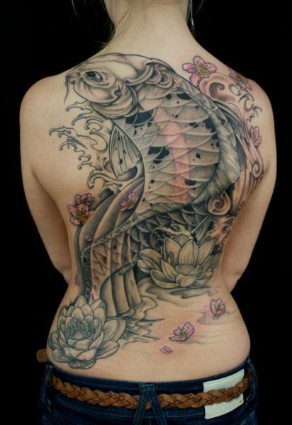 Japanese Back Carp Tattoo by Skin Deep Art