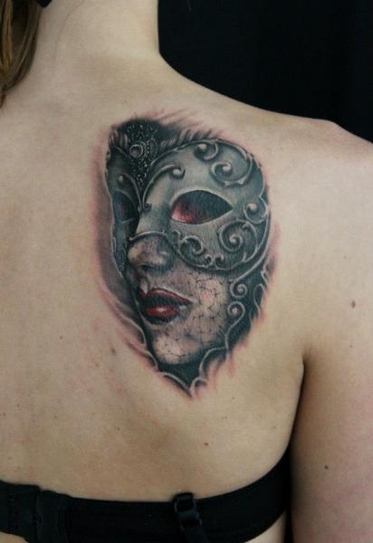 Back Mask Tattoo by Skin Deep Art