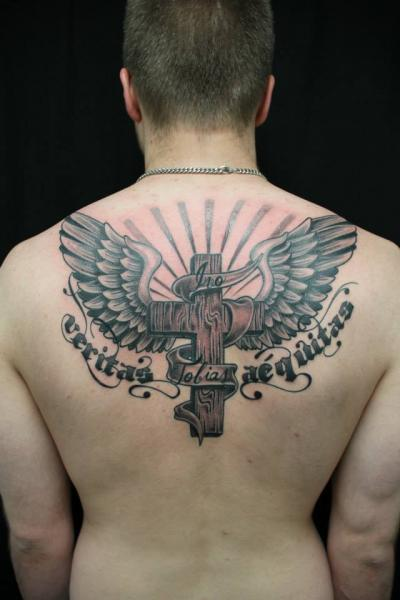 Lettering Back Religious Wings Crux Tattoo By Skin Deep Art