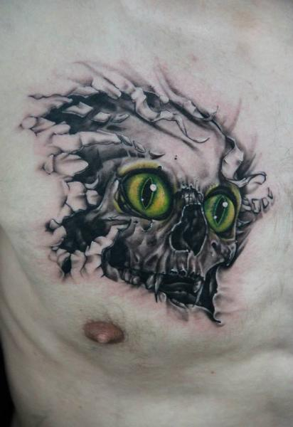 Fantasy Chest Skull Tattoo by Skin Deep Art
