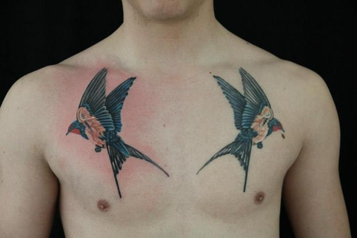 Realistic Chest Bird Tattoo by Skin Deep Art