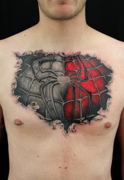 Tatuagem Fantasia Peito Homem-Aranha Por Skin Deep Art